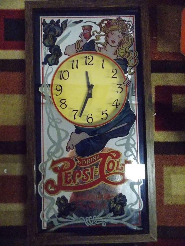 Vintage Pepsi Cola Wall Clock Mirrored Mirror Works