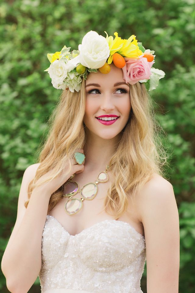 Colorful flower crown and fun jewelry from Kendra Scott | Ling Wang Photography | see more on: http://burnettsboards.com/2014/05/playful-su...
