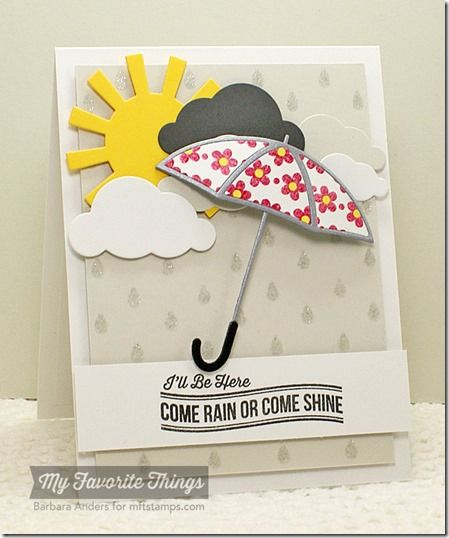 Blue Skies Ahead, Spring Backgrounds, Cloud Cover-Up Die-namics, Layered Umbrella Die-namics, Sun Moon & Stars Die-namics - Barbara Anders #mftstamps