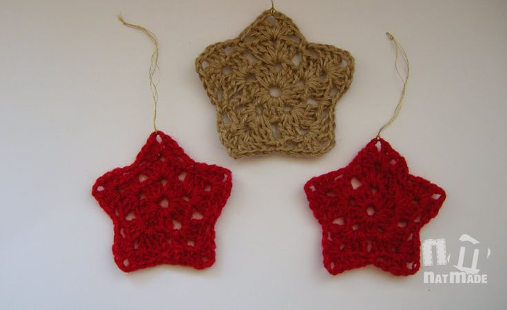 Christmas Star, Set of 3, Crochet, Christmas Ornament, Holiday Decor, Decoration by NatmadeCrafts on Etsy