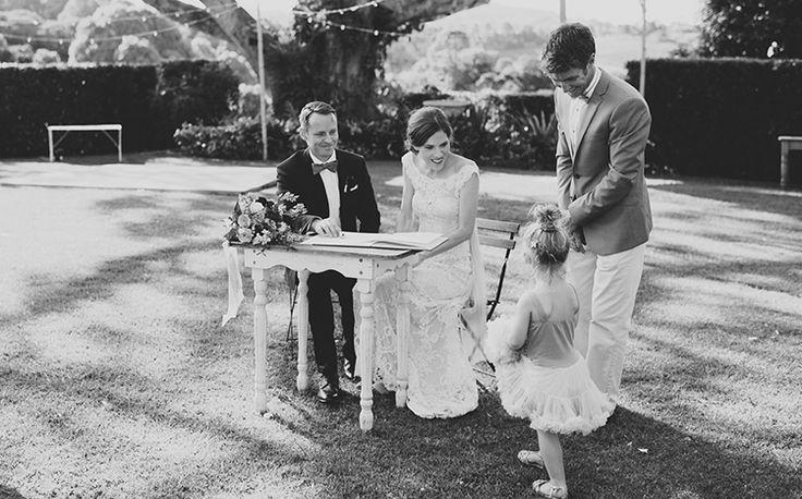 Signed, sealed and delivered + one super cute flower girl. Benjamin Carlyle Celebrant - Velleron House - Nat McComas. Tweed Wedding Celebrant. Byron Bay Wedding Celebrant