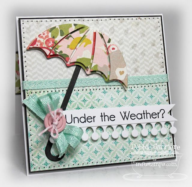 handmade get well card ... sweet look with pretty patterned papers in aquas and pink s... die cut umbrella and matching sentiment ... great card! ... My Favorite Things  Stamps
