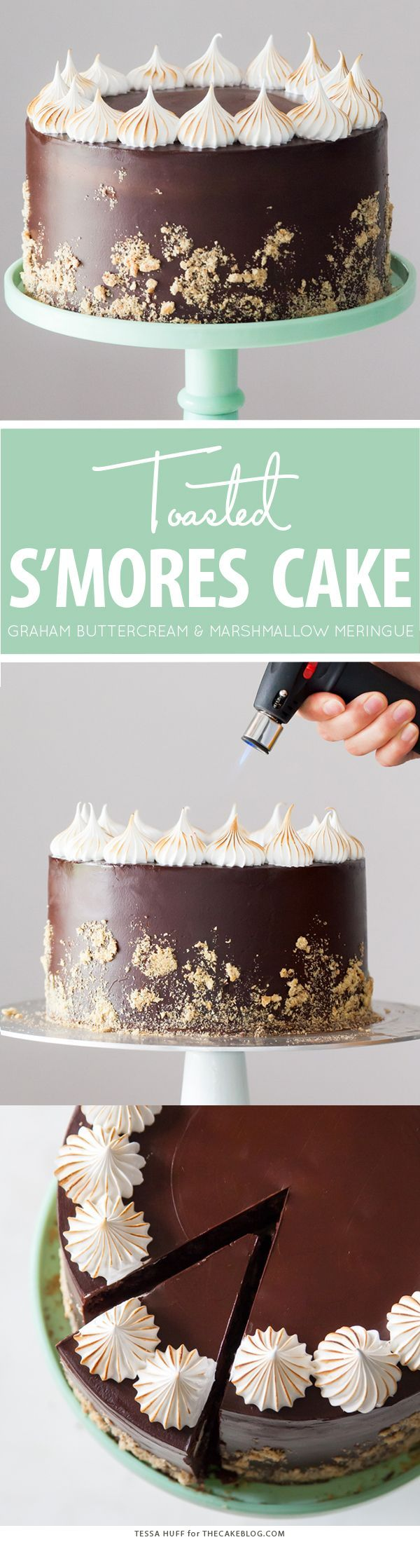 S'mores Cake - s'more inspired layer cake recipe with chocolate cake, graham cracker buttercream, chocolate ganache and toasted marshmallow meringue | by Tessa Huff for TheCakeBlog.com