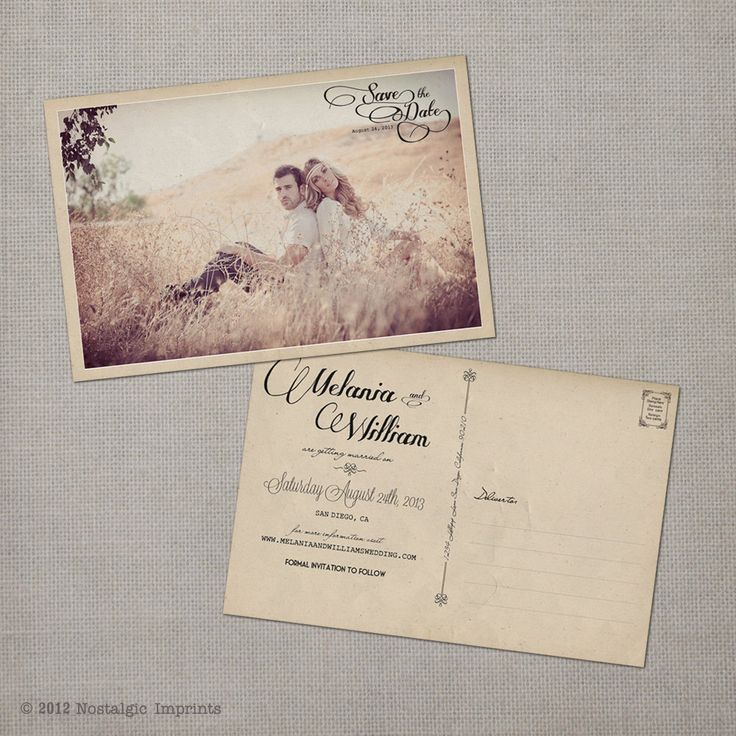 "Vintage Save the Date Postcard - the ""Melania"". $38.00, via Etsy."