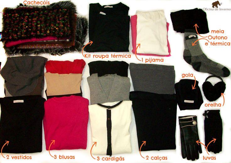 mala de inverno com roupas de frio compacta
