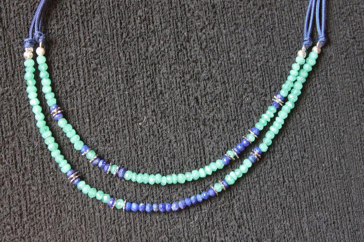 Collar doble. Lapislázuli y piedra luna #jewellery #jewell #perfect #love #summer #green