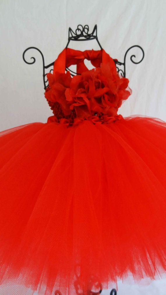 PageantTutuRed Tutu Flower Top Red Tutu DressBaby Fancy Red