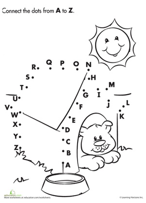 Alphabet Dot to Dot: Dog House Worksheet