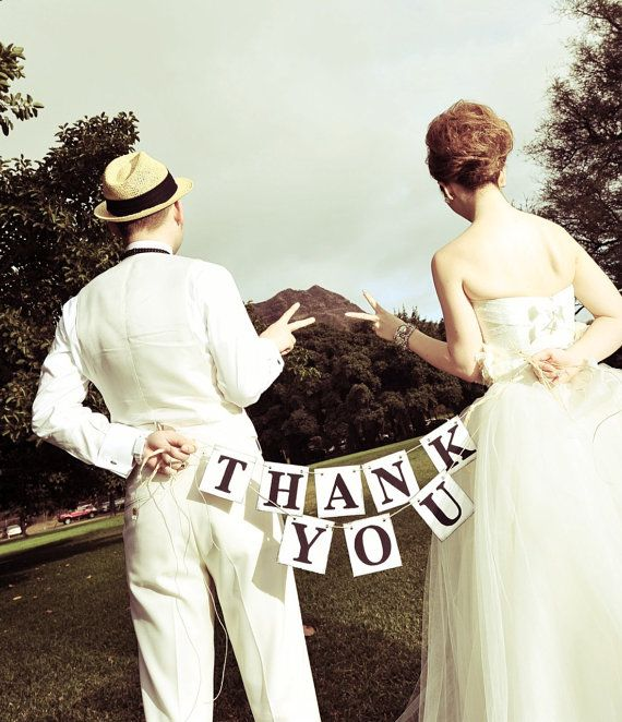 Rustic Style THANK YOU Cards Wedding Banner Wedding Garland Wedding Reception Sign Photo Booth Prop Can be Customized in Your Wedding Colors. $19.00, via Etsy.