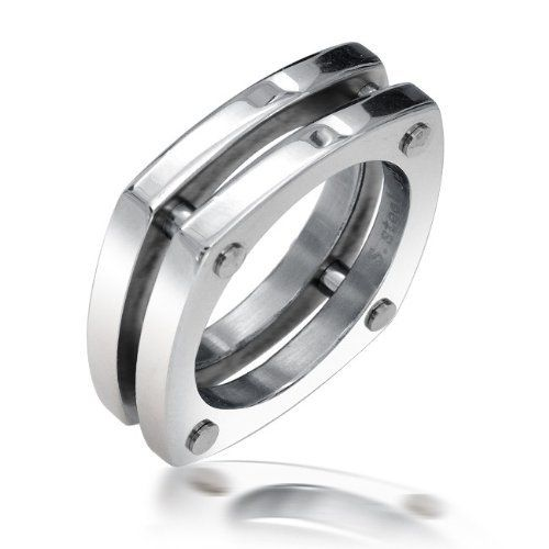Bling Jewelry <b>Stainless Steel Square</b> Screw Double Band <b>Modern</b> ...