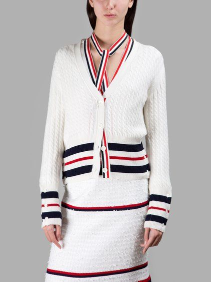 THOM BROWNE Thom Browne Women'S White Woven Cardigan. #thombrowne #cloth #knitwear