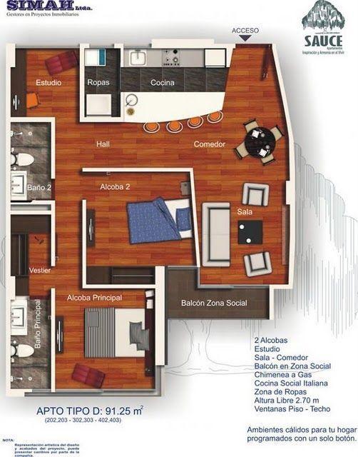 planos-departamentos-91m2 #fachadasminimalistasdepartamentos