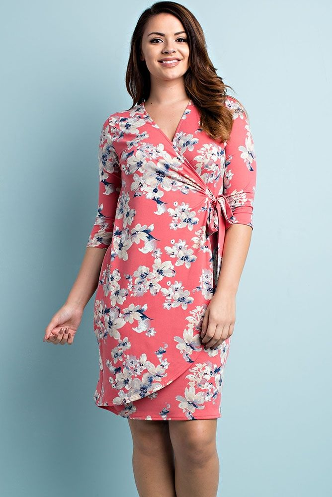 Coral Floral Wrap Bodycon Plus Size Dress