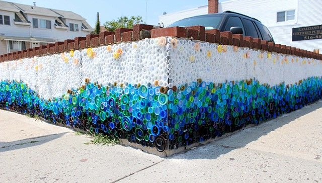"""""""When the Beach Met the Bay"""" Created by Lisa Be Sponsored by Project Vortex Approx. 440 sq. ft. Approx. 25,000 plastic caps, galvanized sheet metal, rivets Long Beach, NY     #plastic #bottle #caps #recycled #mural #publicart #streetart #upcycled #eco"""