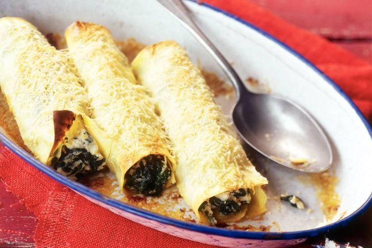 Kijk wat een lekker recept ik heb gevonden op Allerhande! Cannelloni met ricotta en spinazie