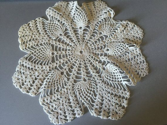 This crochet was made by my grandmother sometime around the 60s.  I have several of them. This listing is just for 1 piece but you can increase the quantity and purchase several. Some are beige, some creamy white in color.  Diameter in between 27cm-30cm (10.5-12)  Has some minor stains but you can wash it by hand or in the washing machine or apply the suitable solution. I have no idea how to care these, so I havent dealt with the stains.  These are genuine motifs of Anatolia, Turkey.