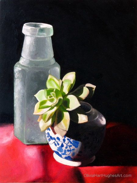 "Still life painting by Olivia Hart-Hughes called ""Echeveria in the Sun"" - Oil on Board.   ©Olivia Hart-Hughes Art 2014"
