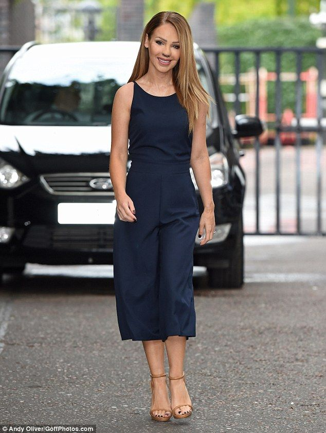 Simply stylish: Katie Piper worked a tailored navy jumpsuit as she was spotted leaving the ITV studios in central London on Tuesday morning