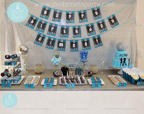 Aqua Disco Party Printable Decorations / Dance by InviteMe2Party, $29.00