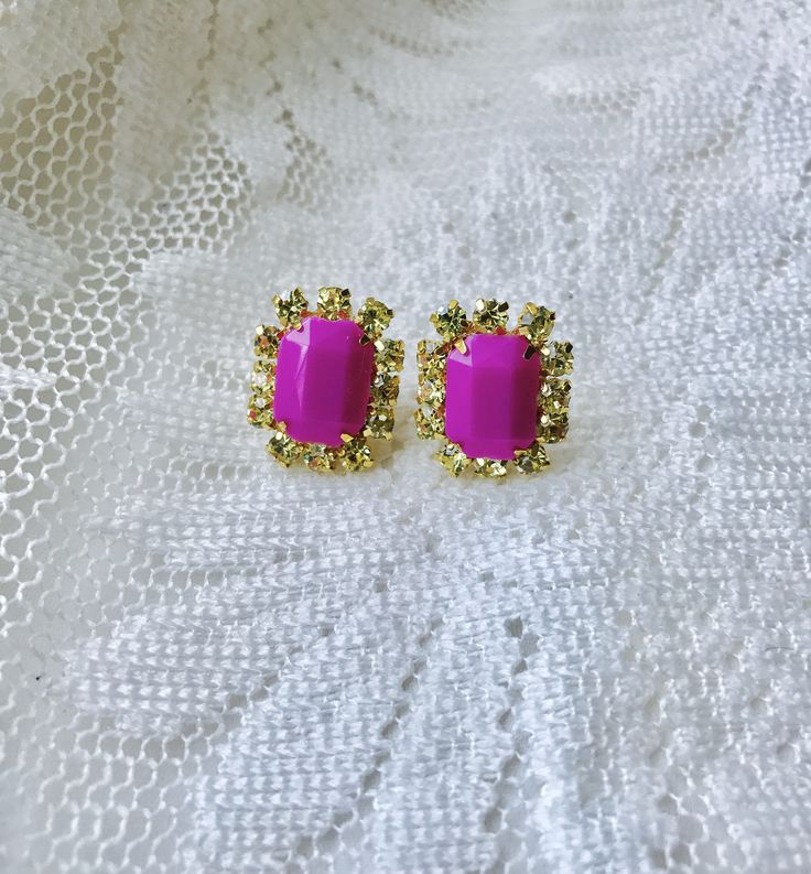 Pink and Gold Rhinestone Earrings by EleChicBijoux on Etsy