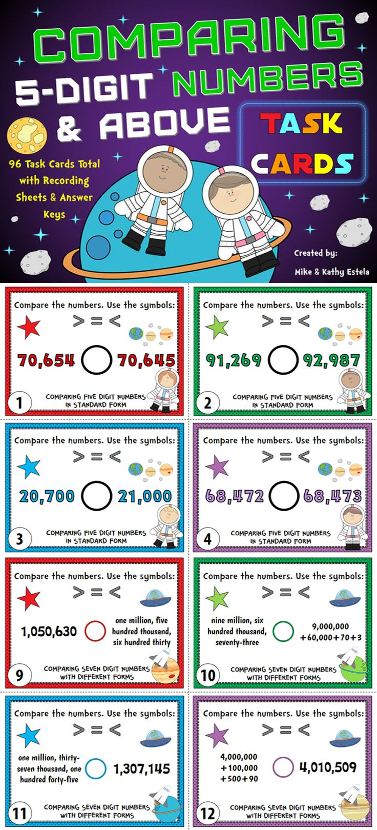 Comparing Numbers Task Cards Compare 5 Digit Numbers And Above Comparing Numbers Task Cards 2nd Grade Writing Comparing digit numbers worksheets