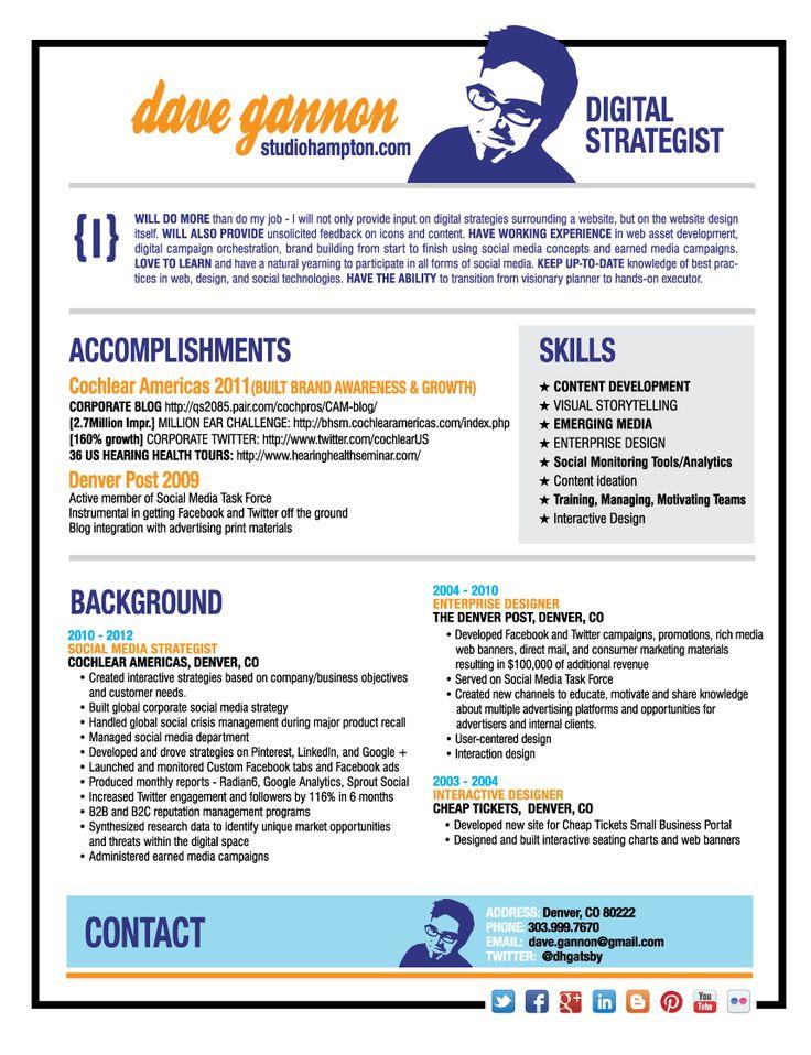 dave gannon denver digital strategist social media manager guy marketing consultant resume samples visualcv