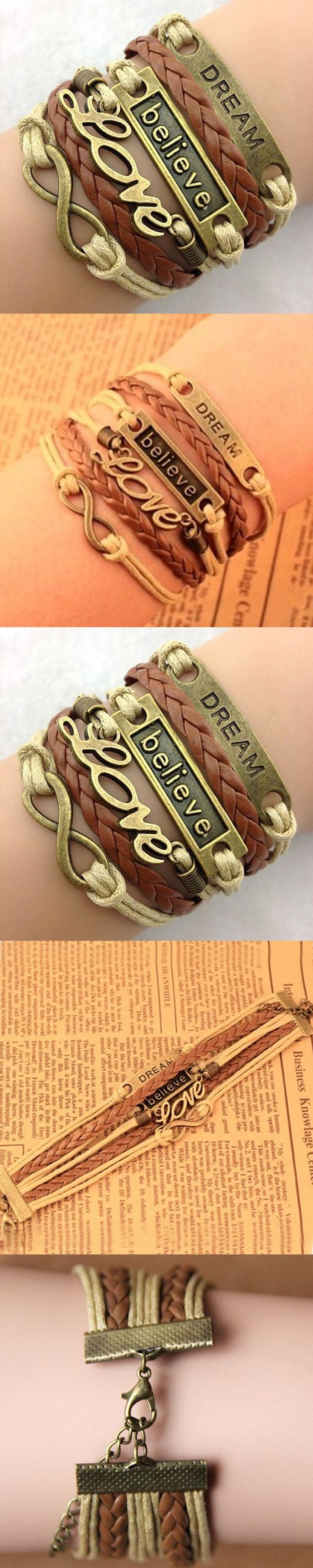 NEW Hot Infinity Love Anchor Leather Cute Charm Bracelet Bronze DIY Styling Accessories