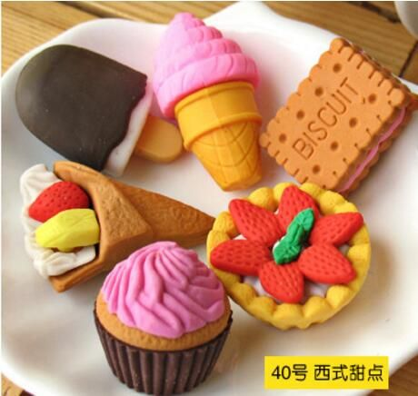 4Pcs/Lot Random Eraser Rubber Stationery New Cake / Friut / Animal / Vegetables Shaped Creative Cute School Supplies For Kids