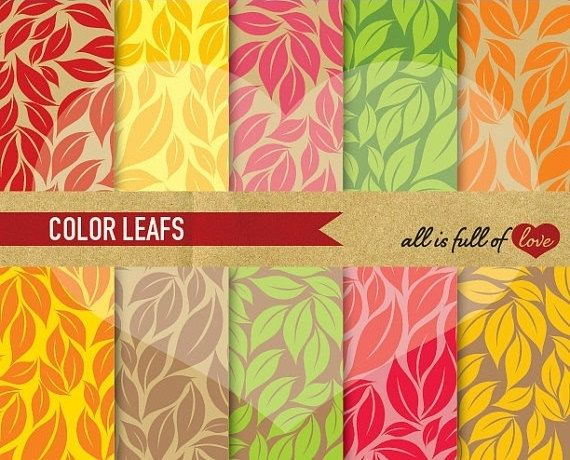 Leafs Patterns Digital Paper Scrapbook Graphics by AllFullOfLove