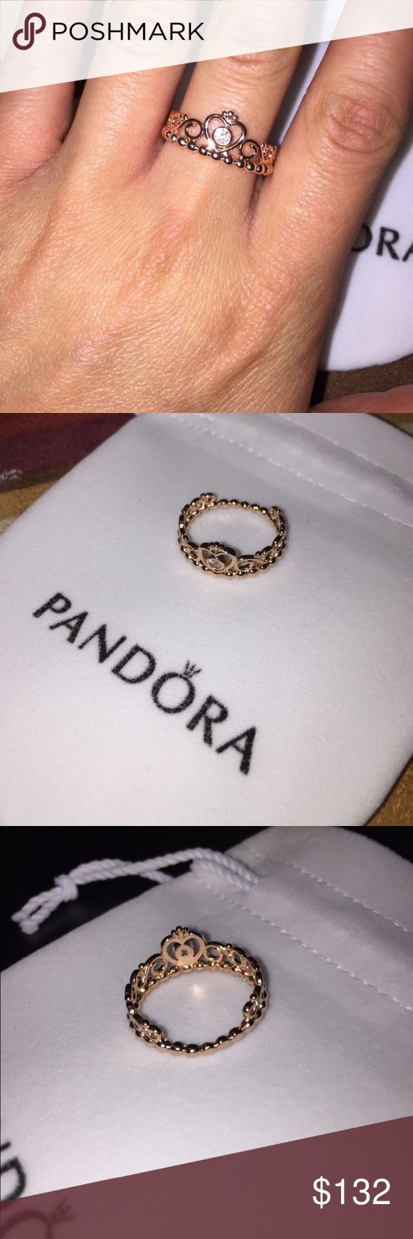 Authentic Pandora Ring w/ bag / pouch Lovely authentic rose gold ring from Pandora stamped with ALE. I never wore it. And it also comes with a Pandora pouch! :) (Accepting offers) Pandora Accessories Watches