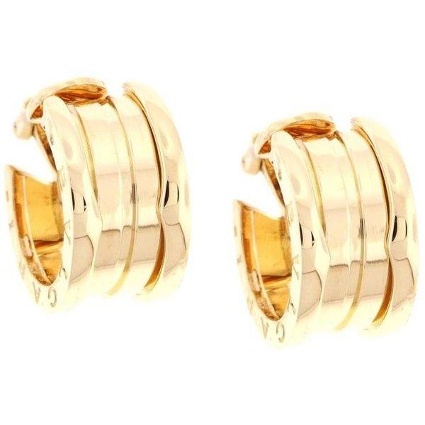 Preowned Bulgari B.zero1 Gold Hoop Earrings ($2,950) ❤ liked on Polyvore featuring jewelry, earrings, hoops, multiple, bulgari jewelry, 18 karat gold earrings, bulgari, preowned jewelry and gold jewelry