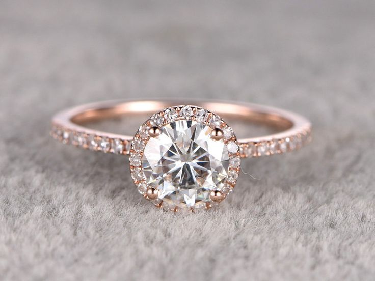 Moissanite Engagement ring,14K&18K Rose/Yellow/White Gold Available. Every Jewelry in my store needs making to order. The Engagement ring features a 7mm Round Cut Charles & Colvard Moissanite,diamond go half around the band.  [Item details]  Engagement Ring: Solid 14K Rose Gold(Can be made in white/yellow/rose gold)  Band Width approx 1.3mm  Size 5#(Ring can be resized)  7mm Round cut 1.25ctw Charles & Colvard Moissanite  0.26ctw Round Cut SI-H Natural Conflict Free Diamonds.  Prong,Pave Set…
