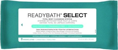 Medline ReadyBath Select Medium Weight Cleansing Wash (Blue) cloths, Benzalkonium Chloride, 8/pk (30 case)