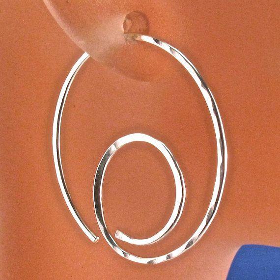 HOOP EARRINGS. STERLING spiral earring . by CecileStewartJewelry, $19.95