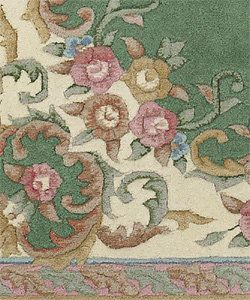 Hand-knotted Green Wool Aubusson  Rug (9' x 13')