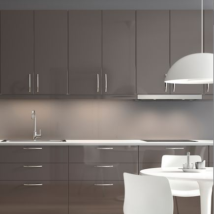 Kitchen ikea metod ringhult grey gloss 50 for Kitchen units grey gloss