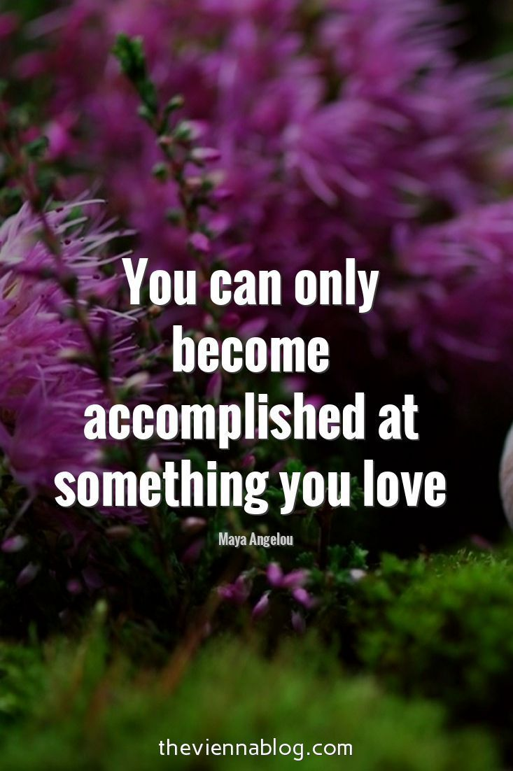 You can only become accomplished at something you love.