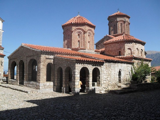 "The Monastery of Saint Naum (Macedonian: Манастир ""Свети Наум"") is an Eastern Orthodox monastery in the Republic of Macedonia, named after the medieval Saint Naum who founded it.[1] It is situated along Lake Ohrid, 29 kilometres (18 mi) south of the city of Ohrid.  The Lake Ohrid area, including St Naum, is one of the most popular tourist destinations in Macedonia"