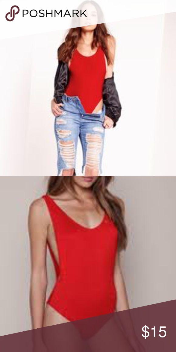 Red bodysuit Red ribbed bodysuit super dope never worn ( not Topshop same vibe) 💯 Topshop Tops