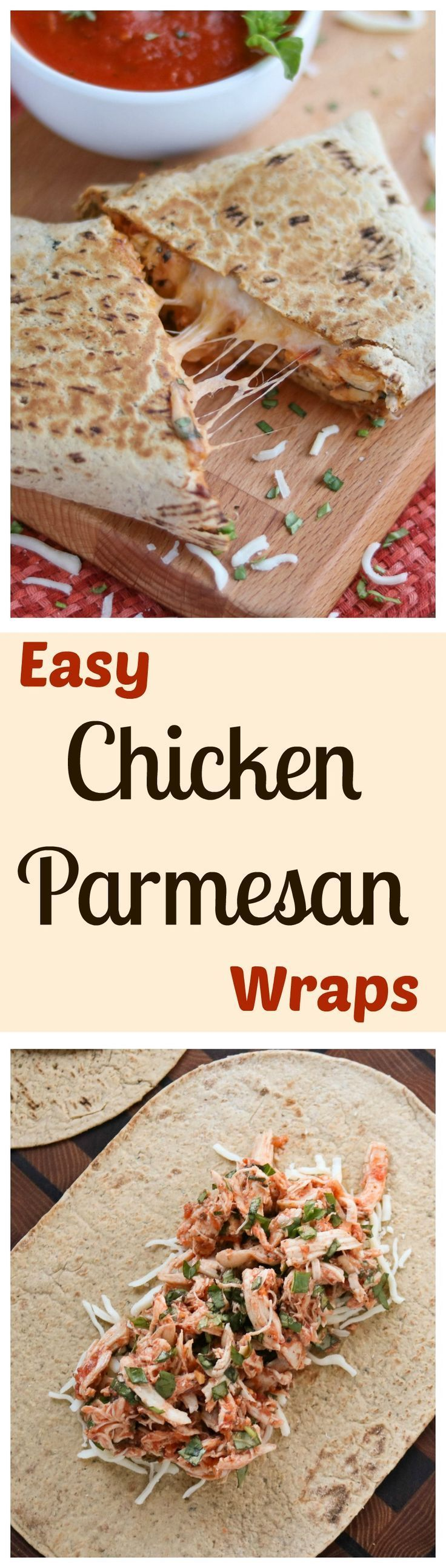 These Easy Chicken Parmesan Wraps are a super-fast, 15-minute meal! Make them ahead - they're portable and freezable, too! All the cheesy, saucy, comforting flavors of your favorite chicken parmesan casserole… yet so quick and simple! | Two Healthy Kitchens