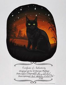 Hand-Painted-River-Rock-Black-Cat-Witch-Halloween-Witch-Pet-Original-Painting