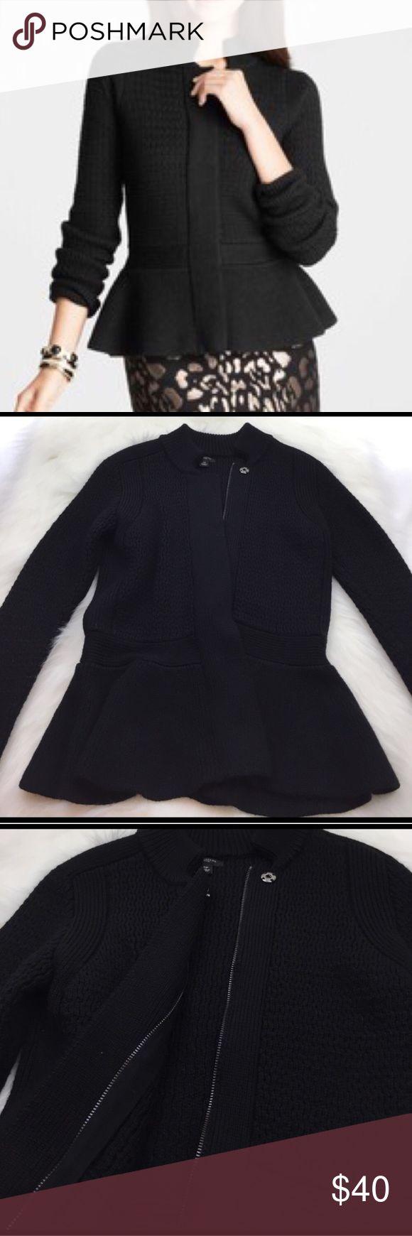 Ann Taylor Wool Peplum Sweater Jacket Very professional and chic Ann Taylor Wool Peplum Sweater Jacket. EUC. Color: Black. Size: SP Ann Taylor Sweaters Cardigans