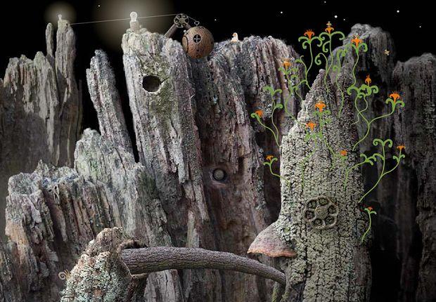 Hierbij is het meer de vreemde combinatie van het gefotografeerde hout en de helgroene/oranje bloemen wat mij triggerd. bron: Samorost (amanita-design.net)