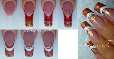Karácsonyi piros-fehér műköröm minta step by step