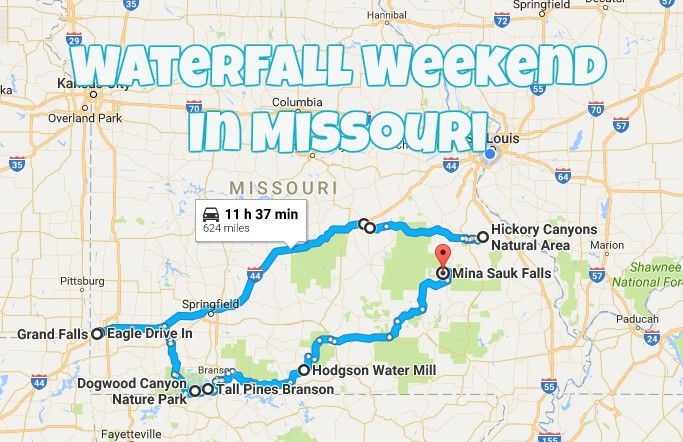 Take this road trip to explore Missouri's most beautiful waterfalls with a couple overnight stays and a tasty meal along the way.