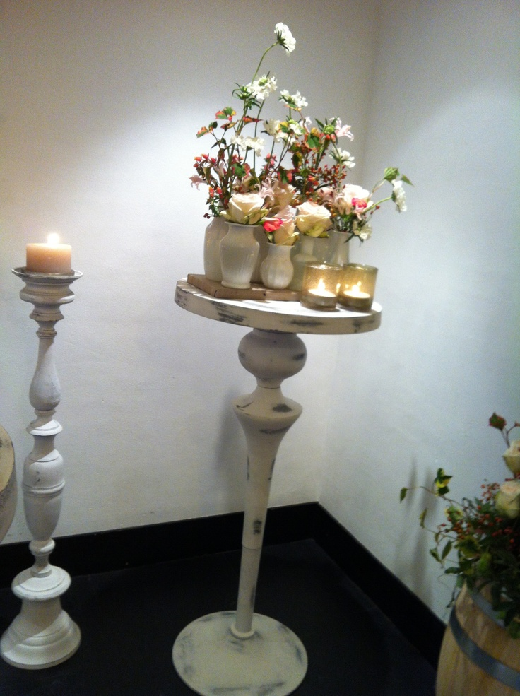 Whitewash hoge tafeltjes & kandelaars