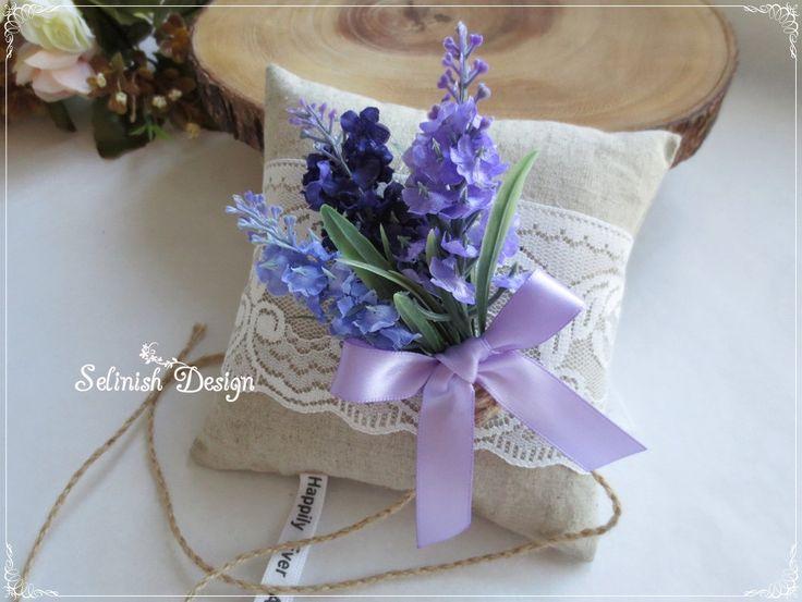 Lavender Burlap Ring Bearer Pillow, Vintage Wedding Ring Pillow, Rustic Wedding, Wedding Ring Pillow by Selinish- code: RP154lavender by SelinishDesign on Etsy
