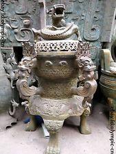 """36"""" China Huge bronze carved Tiger five dragon incense burner censer Statue"""