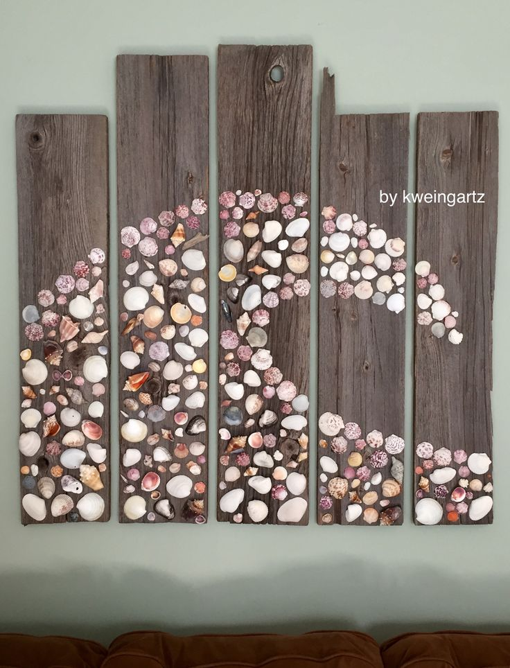 Sanibel Shells and Michigan Barnwood. Original wall art. Created by Katie Weingartz, 2016