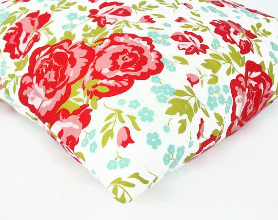 the Red Roses - Kids Pillow Case - Decorative Cushion Cover - 18 17 16 15 14 13 12 inches - 100% Cotton - Envelope Opening – Handmade